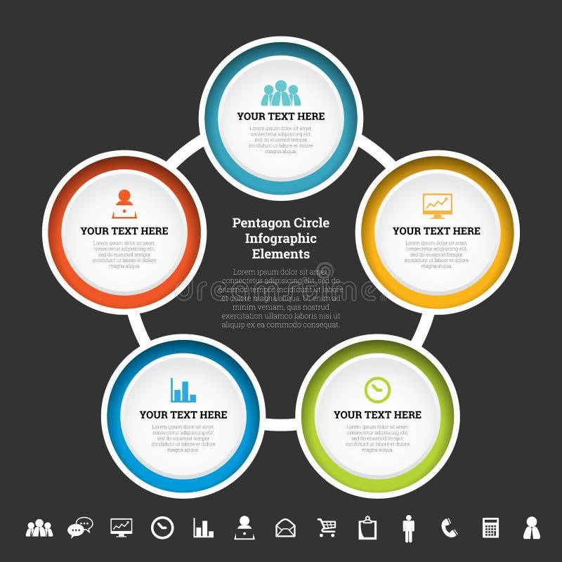 De Elementen van Infographic van de pentagooncirkel royalty-vrije illustratie