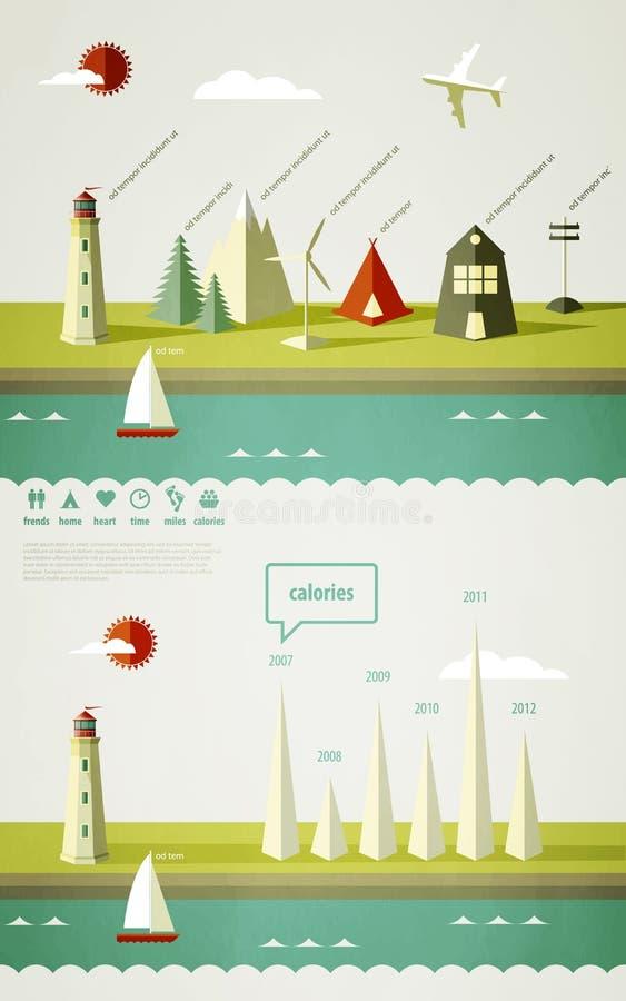 De elementen van Infographics met een vuurtoren vector illustratie