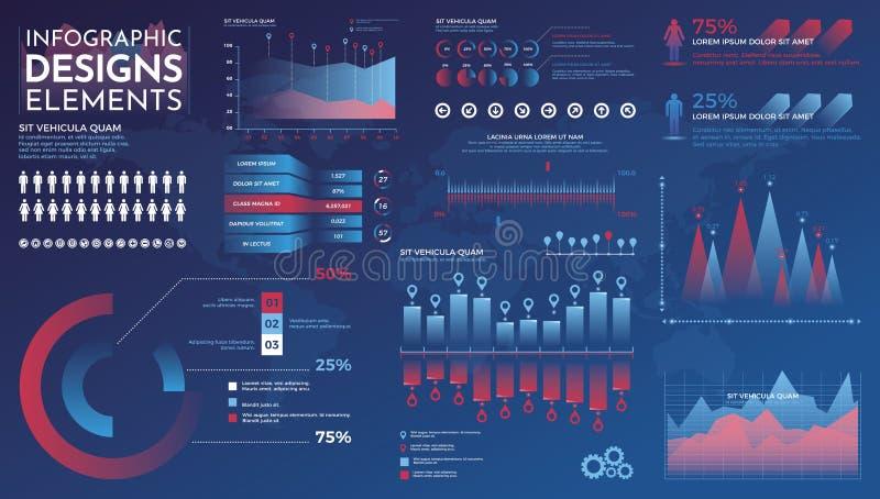 De elementen van Infographics Modern infographic vectormalplaatje met statistiekengrafieken en financi?ngrafieken Diagrammalplaat stock illustratie