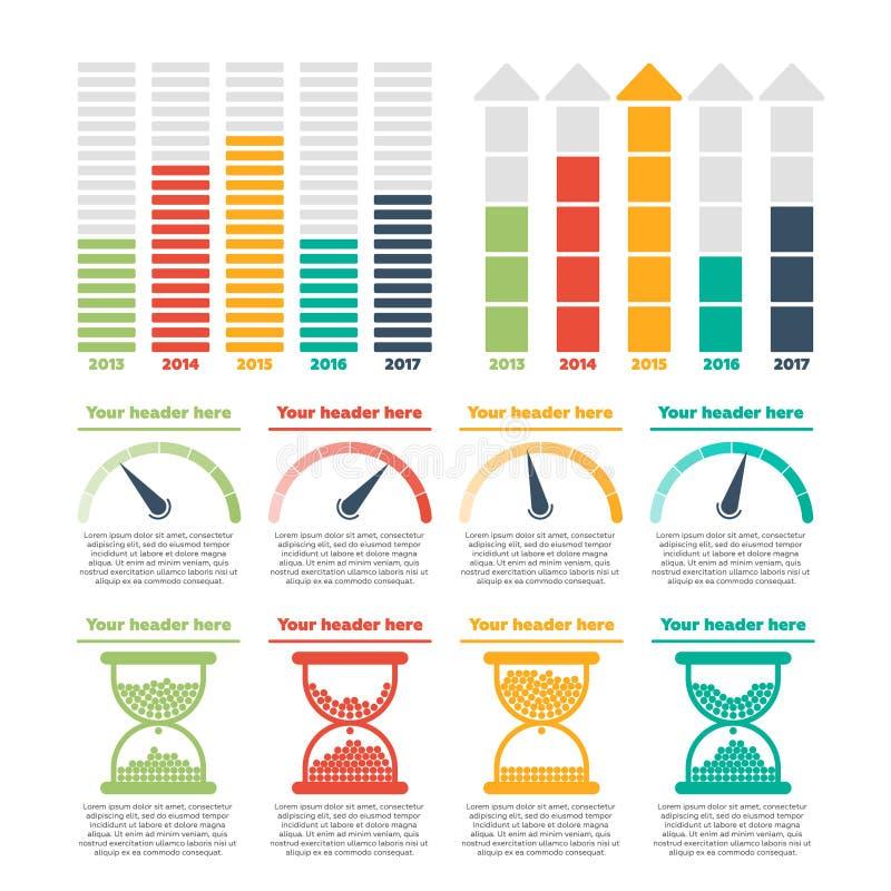 De elementen van Infographics Vooruitgangsbars royalty-vrije illustratie
