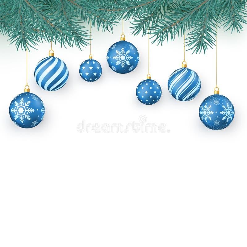 De elementen van de Kerstmisdecoratie op wit worden geïsoleerd dat Spartakjes en blauwe Kerstmisballen met sneeuwvlokkenornament  royalty-vrije illustratie