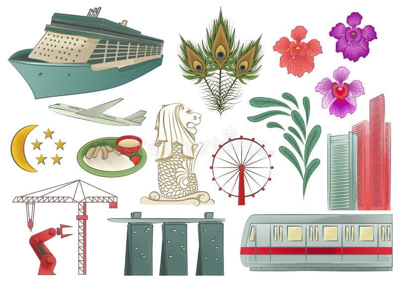 De Elementen van Singapore royalty-vrije illustratie