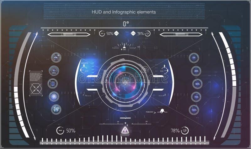De elementen van de vertoningsnavigatie voor het Web en app Futuristisch gebruikersinterface Virtuele grafisch stock illustratie