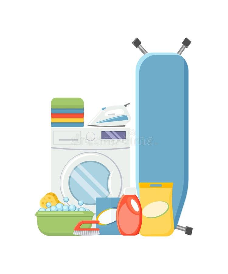 De elementen van de wasserijdienst Washindmachine, detergerns, bassin, SP royalty-vrije illustratie
