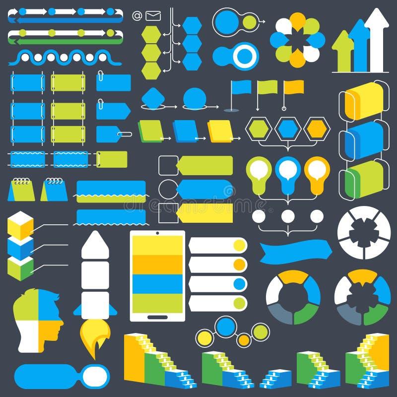 De elementen vectorinzameling van het Infographicontwerp, de voorwerpen van de diagramstructuur en visualisatie royalty-vrije illustratie
