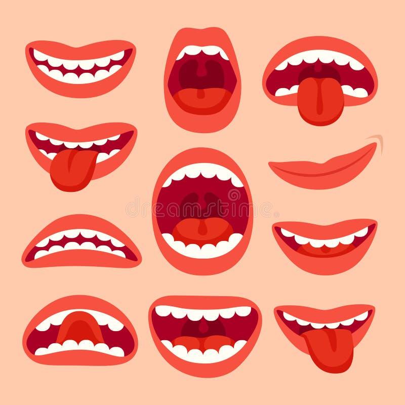 De elementeninzameling van de beeldverhaalmond Toon tong, glimlach met tanden, expressieve emoties, het glimlachen monden en fone vector illustratie