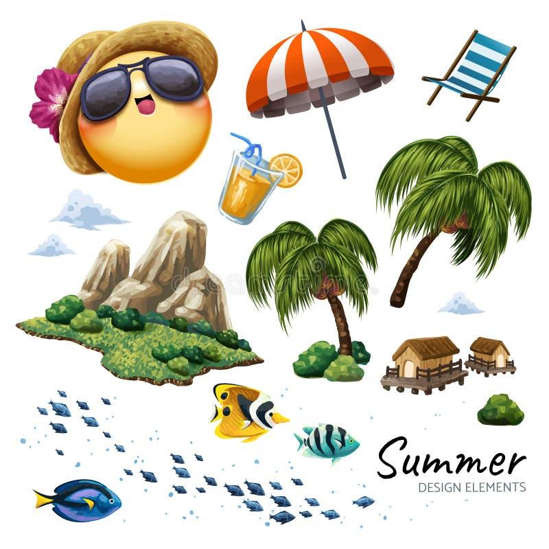 De elementeninzameling van het de zomerontwerp stock illustratie
