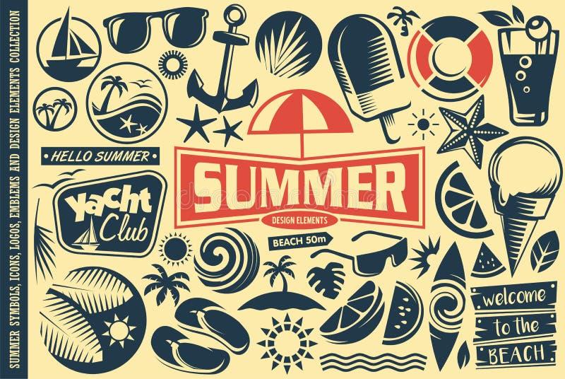 De elementeninzameling van het de zomerontwerp royalty-vrije illustratie
