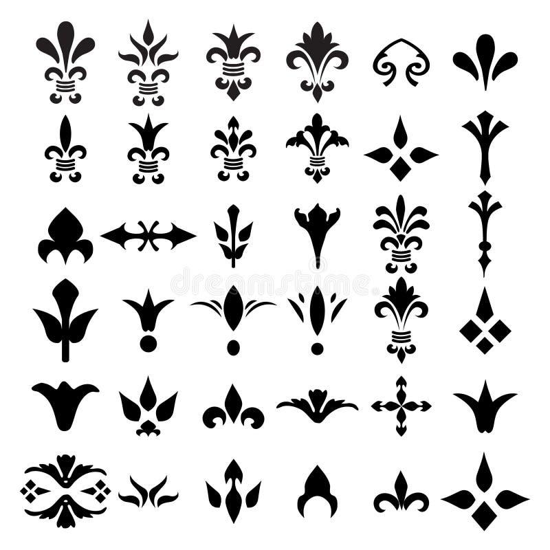 De elementeninzameling van luxe decoratieve sierconner vector illustratie
