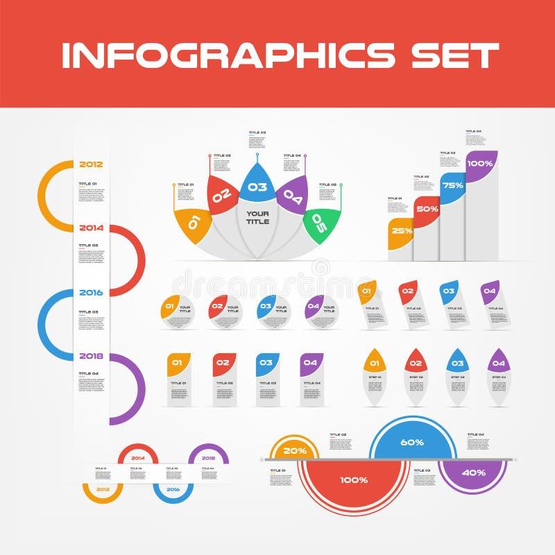 De Elementeninzameling van schaduwinfographic - Bedrijfs Vectorillustratie in vlakke ontwerpstijl voor presentatie, boekje stock illustratie