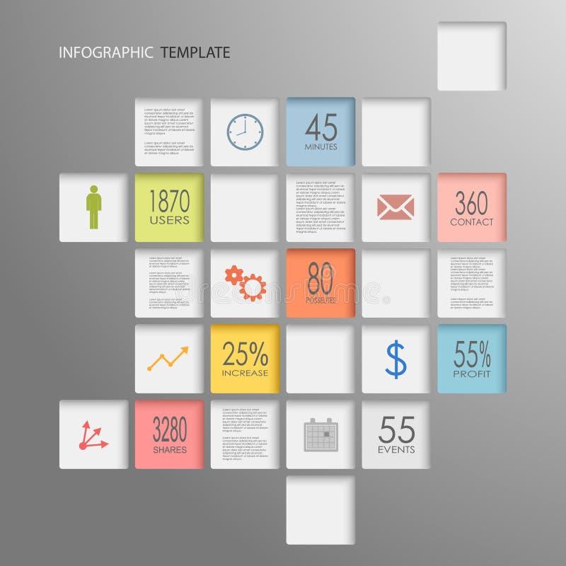 De elementenmalplaatje van informatie grafisch vierkanten royalty-vrije illustratie