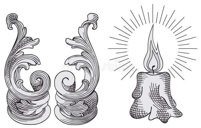 De elementenvector van de kaars en van het ontwerp stock illustratie