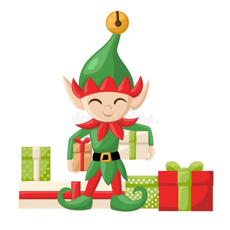 De elf die van elfsanta claus santa s voor Kerstmis voorbereidingen treffen Vrolijk de giften nieuw jaar van het Kerstmissuikergo royalty-vrije illustratie