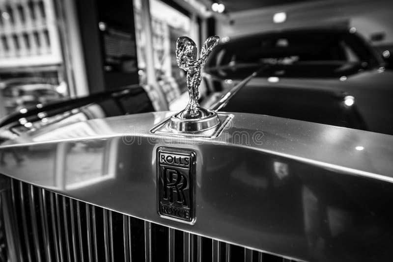 De embleem` Geest van Vervoering ` van een auto Rolls-Royce Phantom VII van de ware grootteluxe stock foto