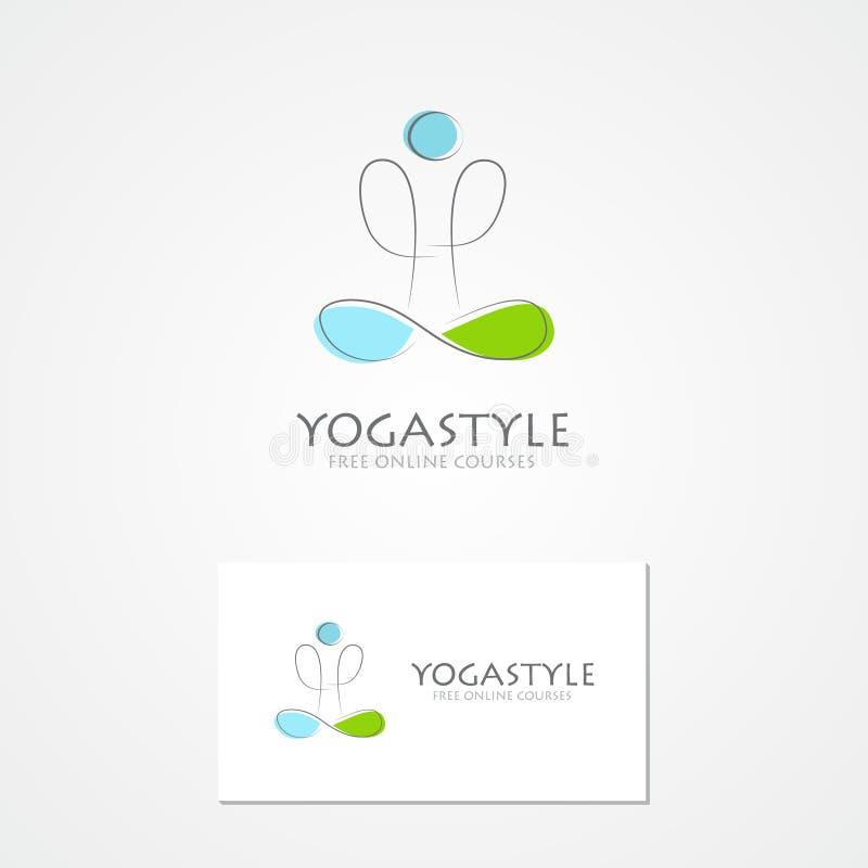 De embleemmens in yoga stelt stock illustratie