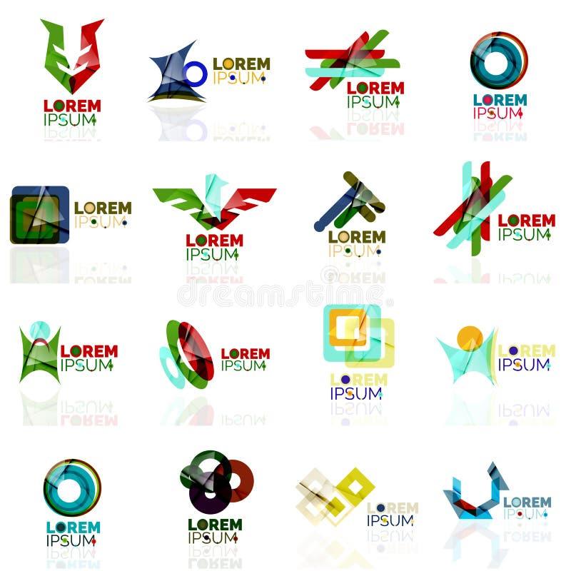 De embleemreeks, vat geometrische bedrijfspictogrammen, document stijl met glanzende elementen samen royalty-vrije illustratie