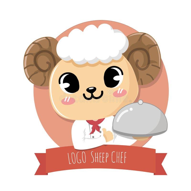 De embleemschapen glimlachen zoete leuke chef-kok royalty-vrije illustratie