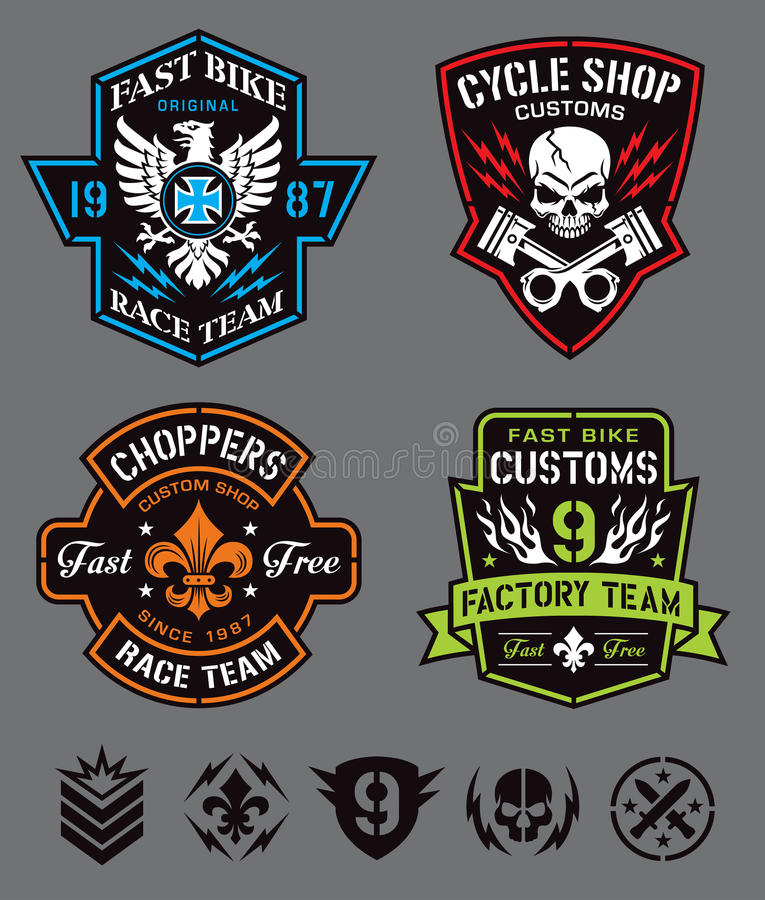 De emblemen & de elementen van het fietserkenteken stock illustratie