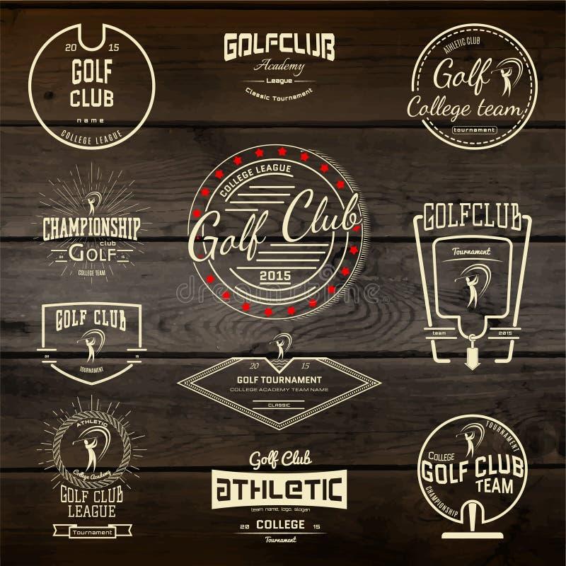 De emblemen en de etiketten van golfkentekens voor om het even welk gebruik stock illustratie