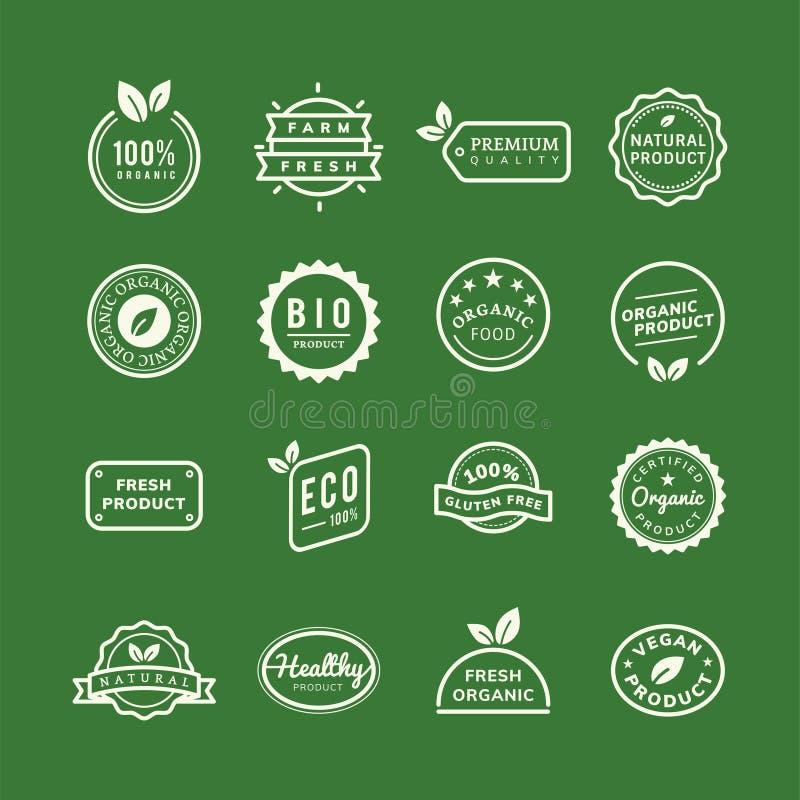 De emblemen van de biologisch productzegel geplaatst illustratie stock illustratie