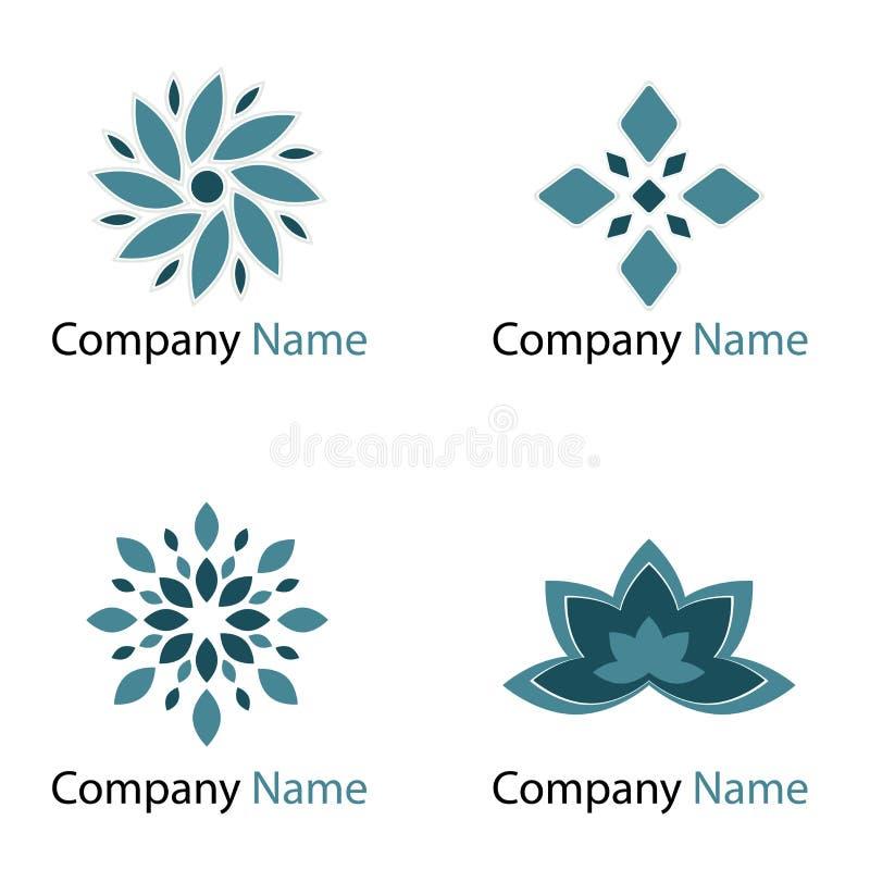 De emblemen van bloemen - blauw vector illustratie