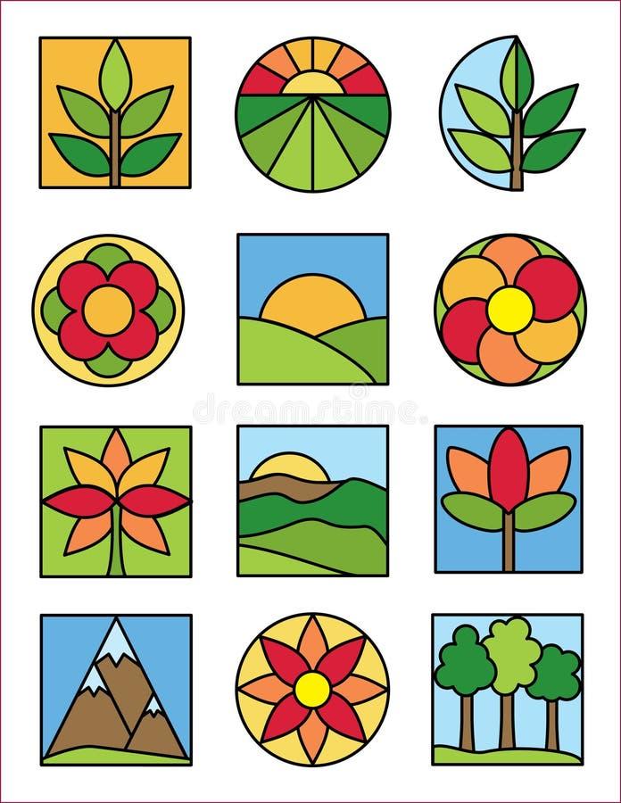 De Emblemen van de aard stock illustratie