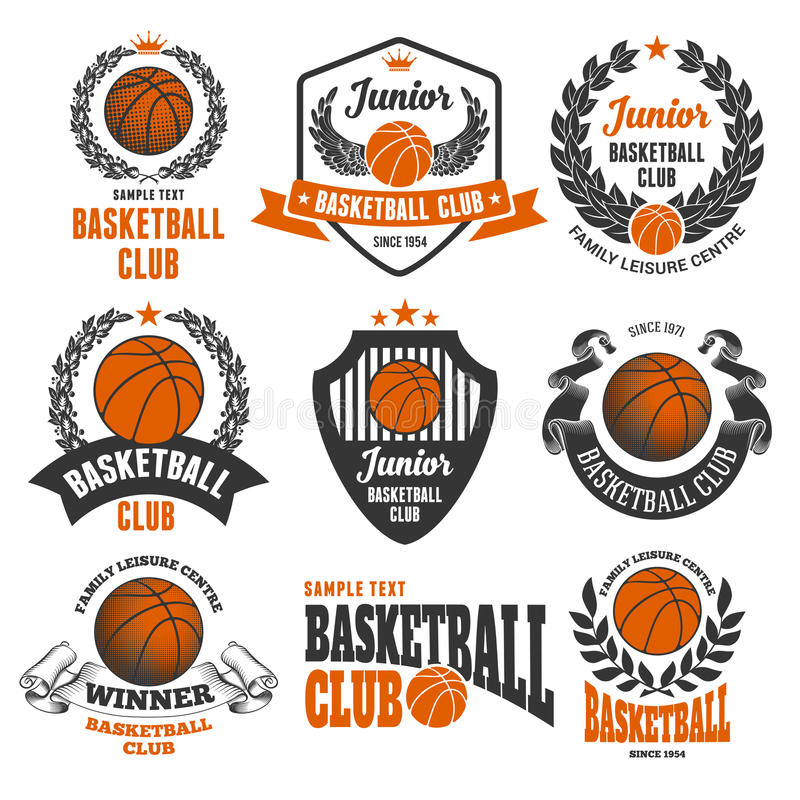 De Emblemen van de basketbalclub stock illustratie