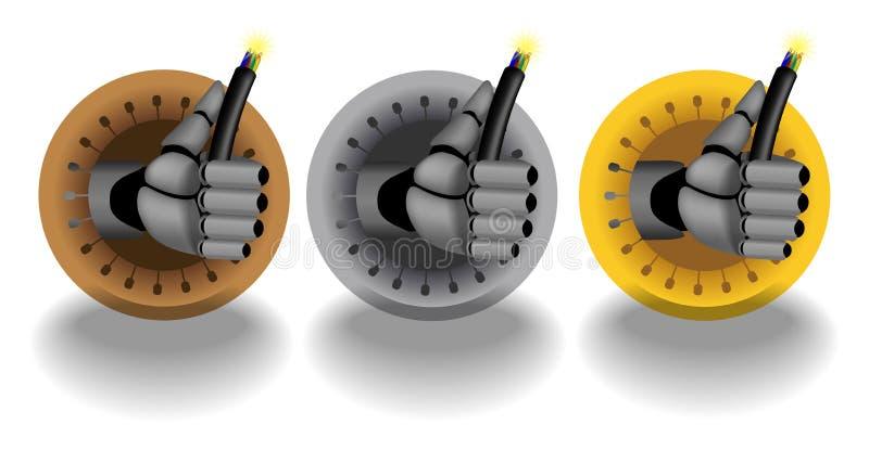 De emblemen van de de holdingskabel van de Cyborghand vector illustratie