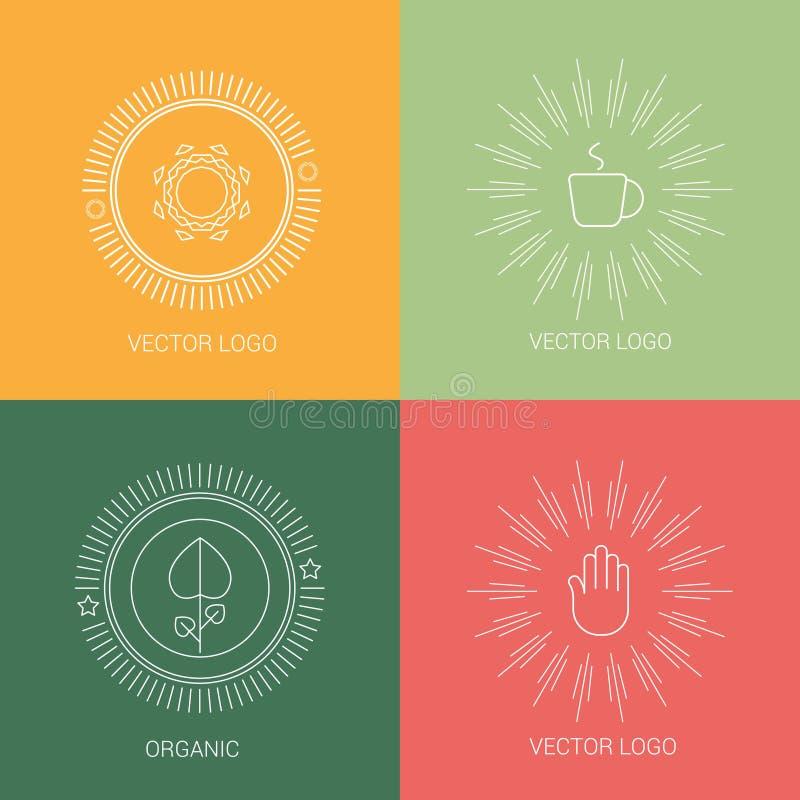 De emblemen van het de kopontwerp van de lijnkoffie en pictogrammenelementen vector illustratie