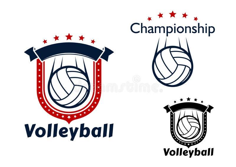 De emblemen van het volleyballspel met vliegende ballen royalty-vrije illustratie