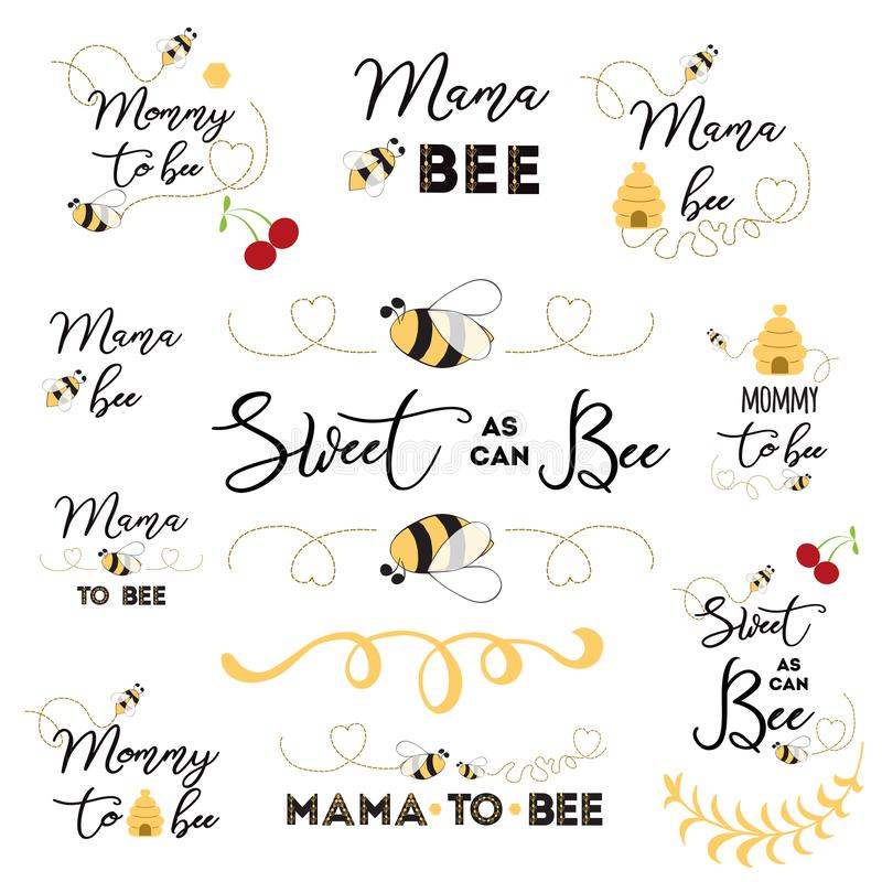 De emblemen van de moedersdag, pictogrammen, etiketten, markeringen Hand getrokken reeks met bij van het de kentekensmamma van de royalty-vrije illustratie