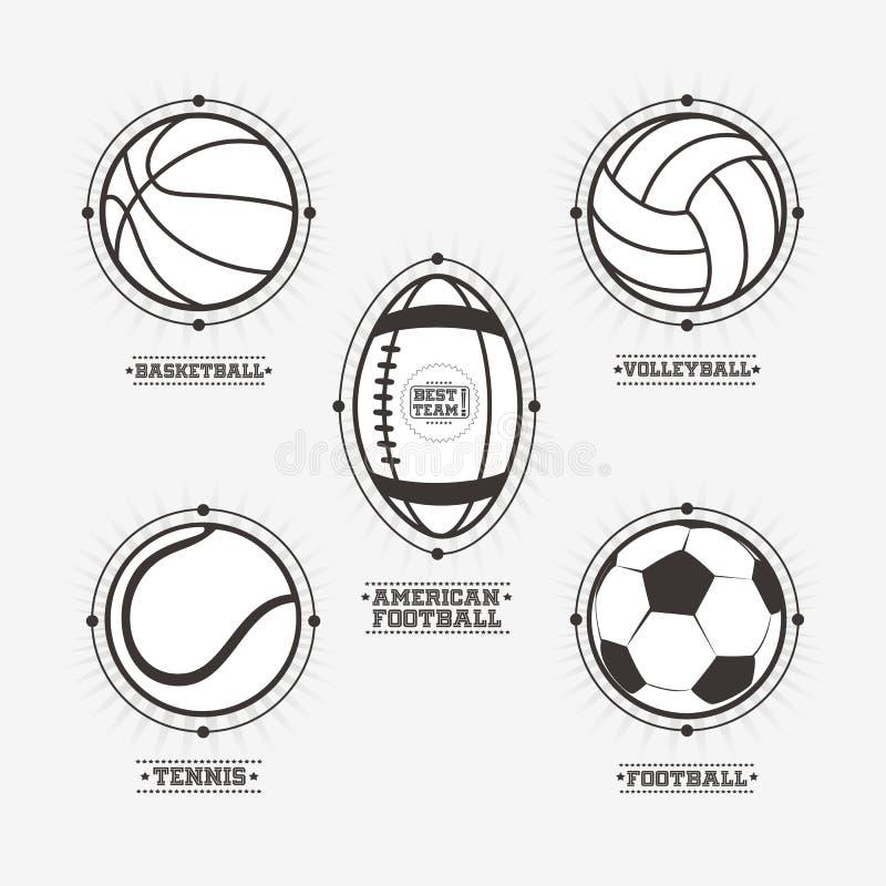 De emblemen van sportenballen, embleem royalty-vrije illustratie