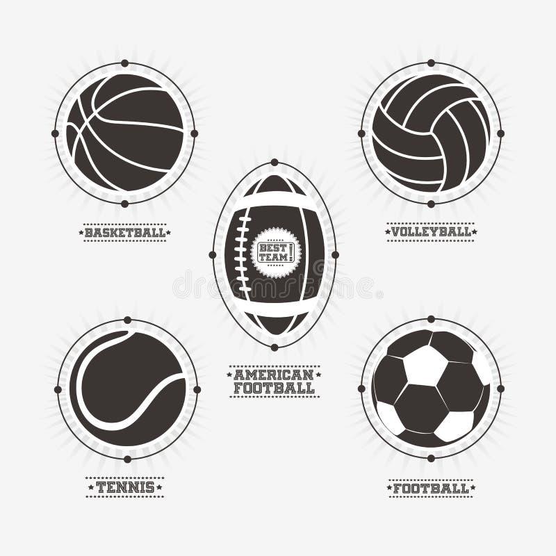 De emblemen van sportenballen, embleem stock illustratie