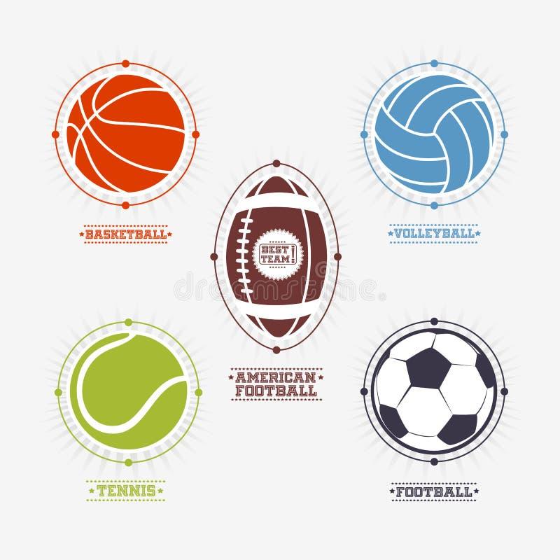De emblemen van sportenballen, embleem vector illustratie