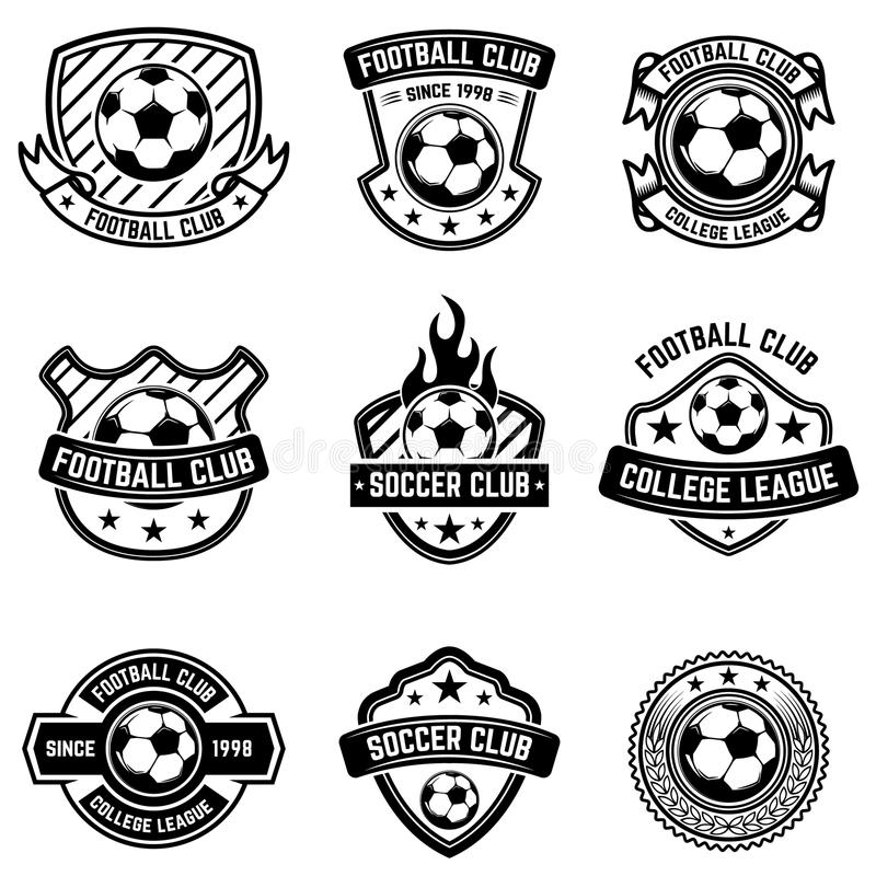 De emblemen van de voetbalclub op witte achtergrond Voetbalkentekens Ontwerpelement voor embleem, etiket, embleem, teken, kenteke vector illustratie
