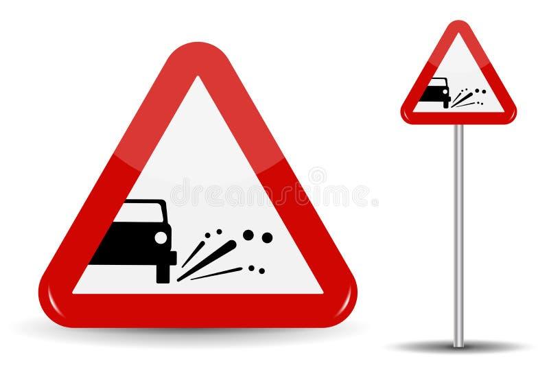 De Emissie van de tekenwaarschuwing van grint, stenen In Rood is de Driehoek een schematische machine, waarvan de voorwerpen vlie stock illustratie
