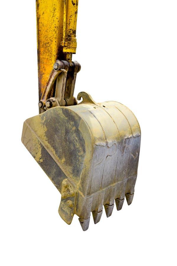 De emmer van het close-upgraafwerktuig van Backhoe die op witte achtergrond wordt geïsoleerd stock afbeeldingen