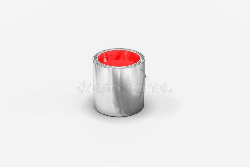 De emmer van verf met witte achtergrond, het 3d teruggeven stock illustratie