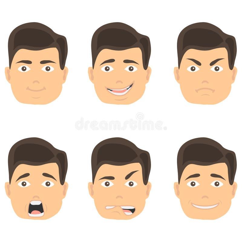 De emoties van een mens ` s zien, de uitdrukking van een mensen` s gezicht onder ogen Verschillende gezichten van een mens met em vector illustratie