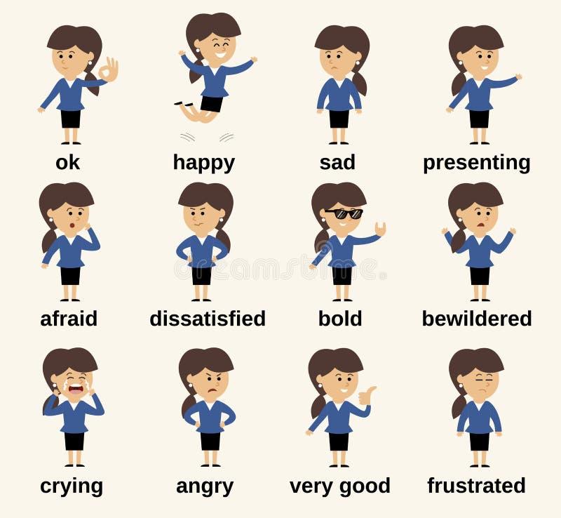 De emoties van het bedrijfsvrouwenkarakter royalty-vrije illustratie