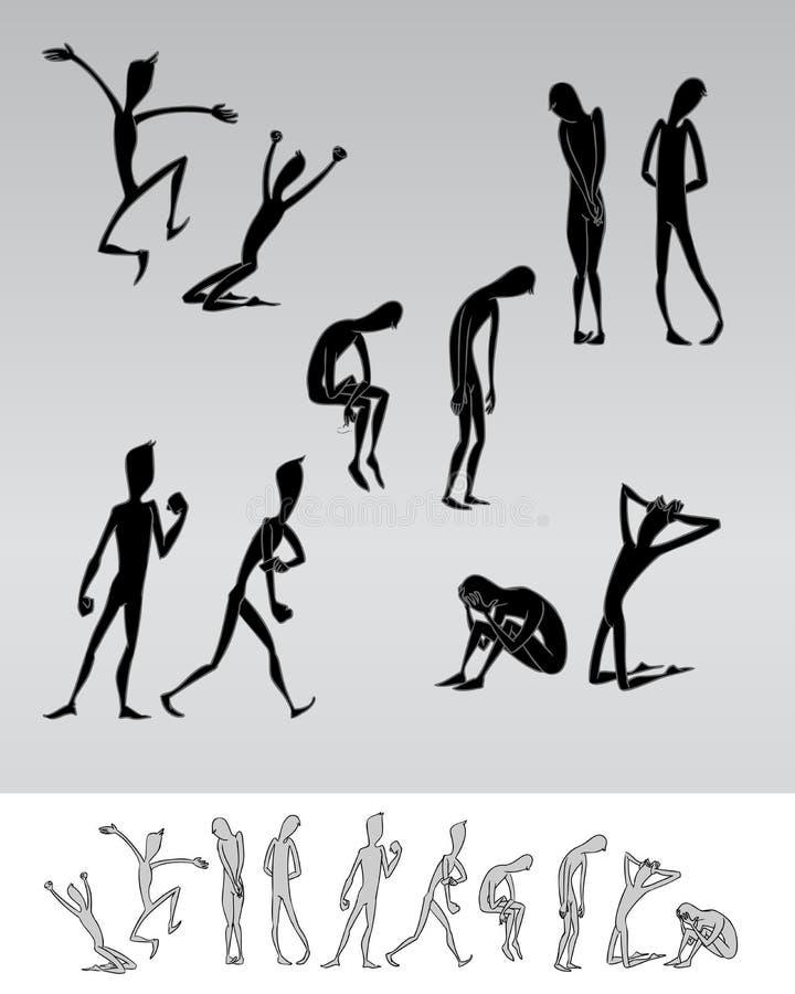 De emotionele silhouetten van het mensenbeeldverhaal vector illustratie