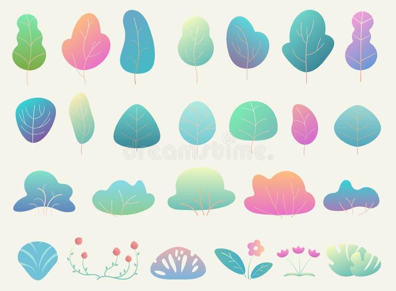 De in en mooie eenvoudige vlakke boselementen van de gradiëntkleur Struiken, bloemenelementen en bomen vector illustratie