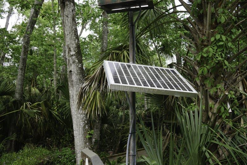 De energie kwam uit photovoltaic cellen voor een veilig milieu en een compatibel systeem met aard voort stock foto's