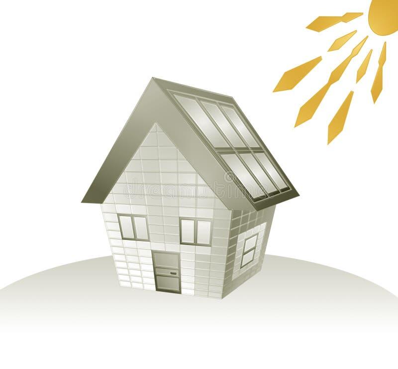 De energie van het huis en van de zon stock illustratie