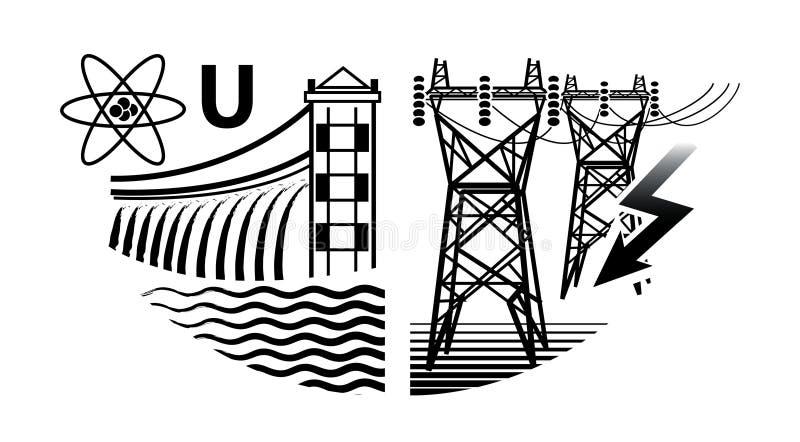 De energie van middelen voorziet: Kern en Hydroelektrische centrales, en Elektrokrachtcentrales royalty-vrije illustratie