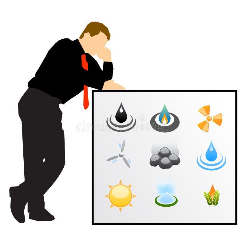De energieontwikkeling van de zakenman vector illustratie