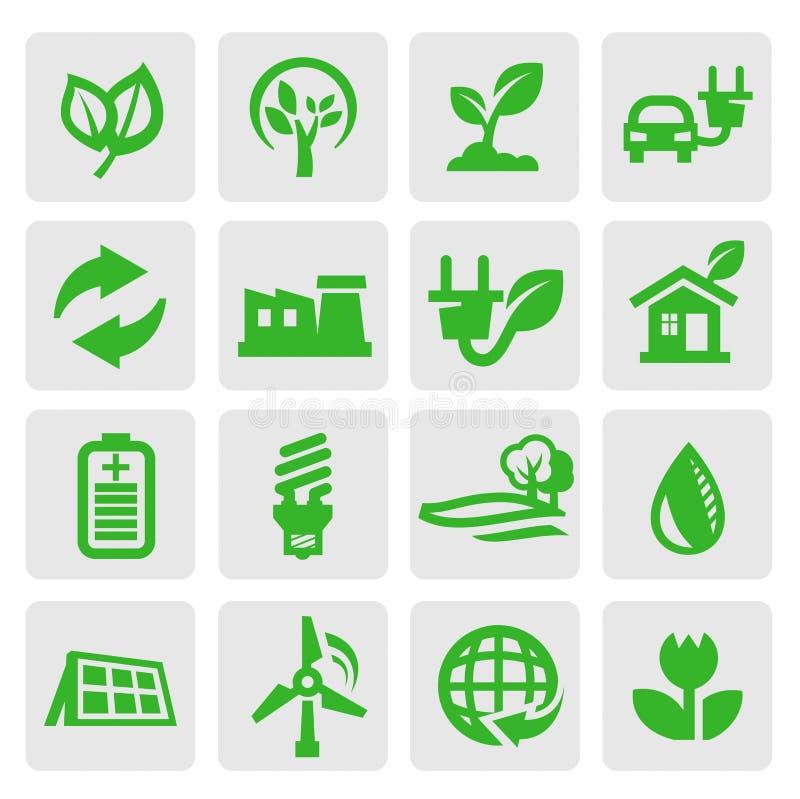 De energiepictogrammen van Eco vector illustratie