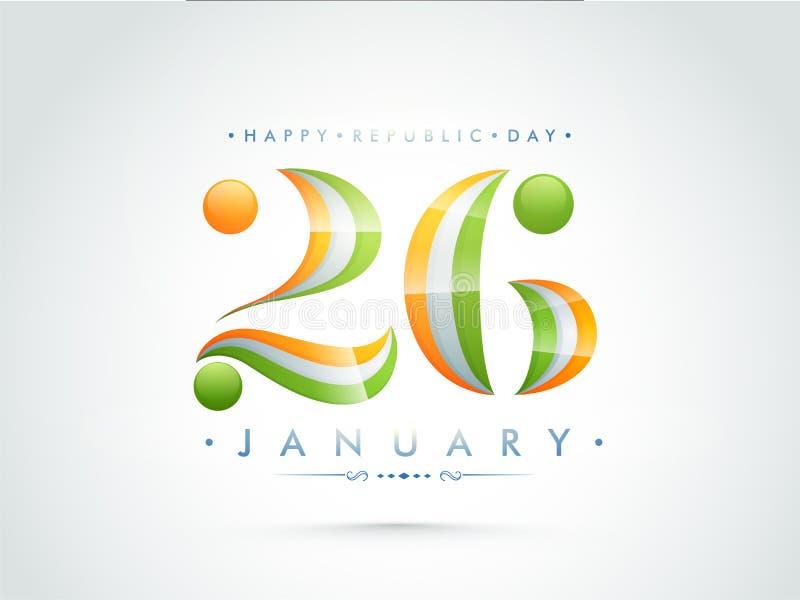 26 De Enero Diseño Del Texto Para El Día Indio De La República Stock ...