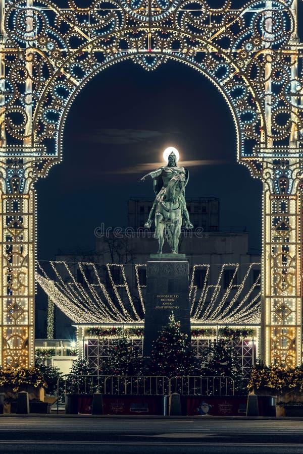 14 de enero de 2018 Rusia, Moscú, calle de Tverskaya Un monumento al fundador de Moscú Yury Dolgorukiy Ni foto de archivo libre de regalías