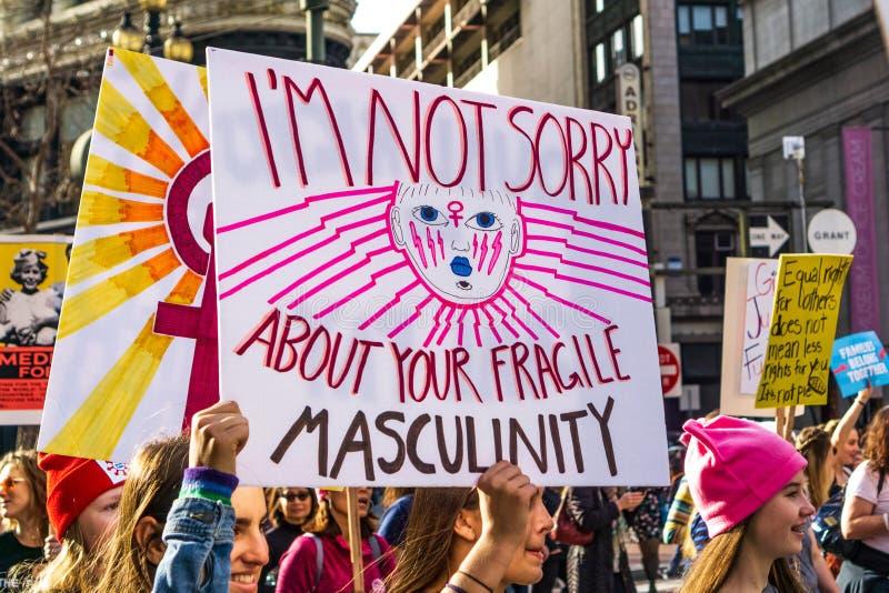 19 de enero de 2019 San Francisco/CA/los E.E.U.U. - acontecimiento de marzo de las mujeres imágenes de archivo libres de regalías